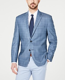 Lauren Ralph Lauren Men's Classic-Fit UltraFlex Stretch Blue Windowpane Plaid Sport Coat