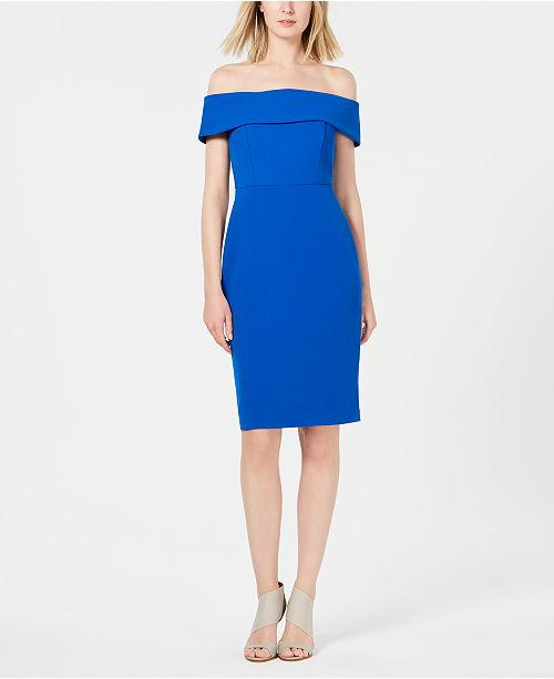 35352ae3a5d2 Calvin Klein Off-The-Shoulder Sheath Dress & Reviews - Dresses ...