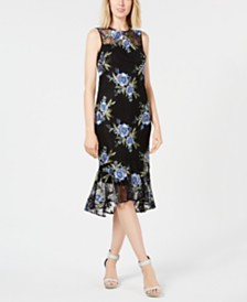 Calvin Klein Floral-Embroidered Flounce Dress