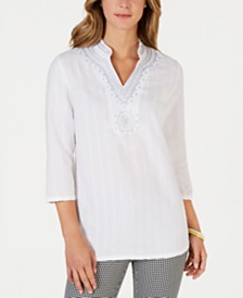 Charter Club Beaded-Neck Shadow-Striped Tunic, Created for Macy's
