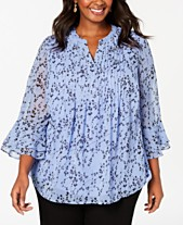 95a3ca157d24a1 Charter Club Plus Size Printed Tucked-Front Knit Top