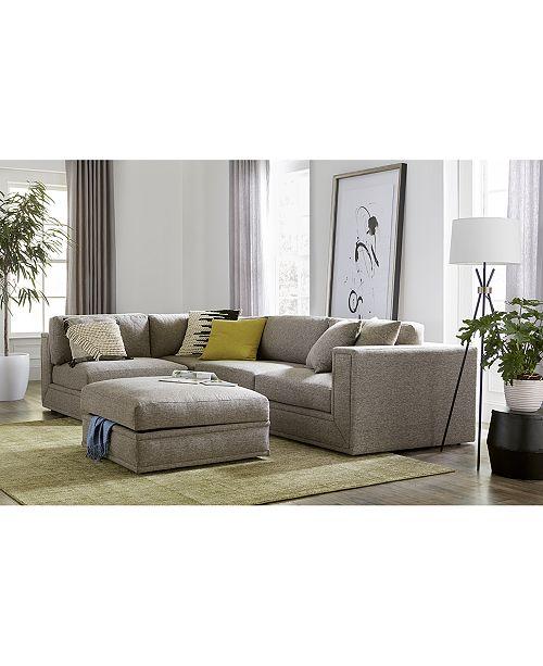 Dulovo 4-Pc. Fabric Sectional Sofa, Created for Macy\'s