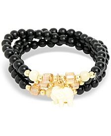 Gold-Tone Elephant Charm Beaded Multi-Row Bracelet