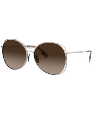 6363d7f4a1480 Burberry Round Steel Cutout Sunglasses In Silver Beige Brown Gradient