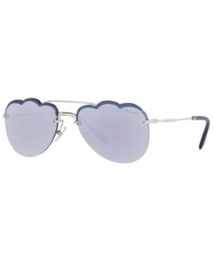 16f1e5401 Miu Miu Women's Mirrored Brow Bar Scalloped Aviator Sunglasses, 58Mm In  Silver/Dark Violet