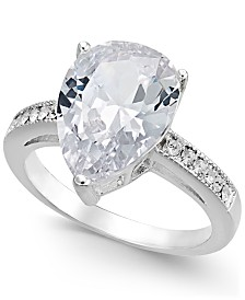 Charter Club Silver-Tone Teardrop Crystal Ring, Created for Macy's