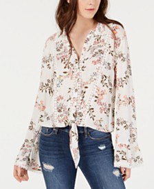 American Rag Juniors' Printed Tie-Front Blouse, Created for Macy's