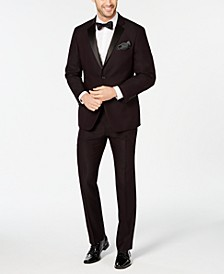 Men's Slim-Fit Stretch Wrinkle-Resistant Burgundy Textured Tuxedo