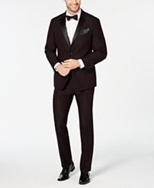 Perry Ellis Men's Slim-Fit Stretch Wrinkle-Resistant Burgundy Textured Tuxedo