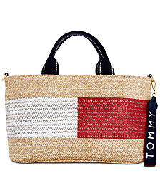 Tommy Hilfiger Teah Flag Straw Satchel, Created for Macy's