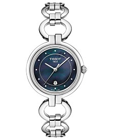 Tissot Women's Swiss T-Lady Flamingo Diamond-Accent Stainless Steel Chain Bracelet Watch 30mm