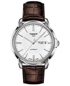 Tissot Men's Swiss Automatic T-Classic Automatics III Brown Leather Strap Watch 39mm