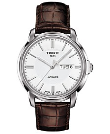 Tissot Men's Swiss Automatic T-Classic Automatics III Brown Leather Strap Watch 39mm