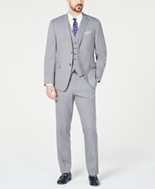 Perry Ellis Men's Slim-Fit Stretch Wrinkle-Resistant Light Gray Tonal Grid Vested Suit
