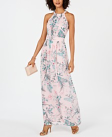I.N.C. Pleated Floral-Print Maxi Dress, Created for Macy's