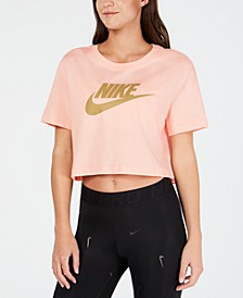 Sportswear Cotton Logo Cropped T-Shirt