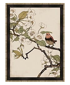 "Red Robin and Peach Blossoms Framed Giclee Wall Art - 35"" x 47"" x 2"""