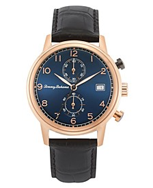 Men's Riviera Black Embossed Leather Strap Watch, 44mm