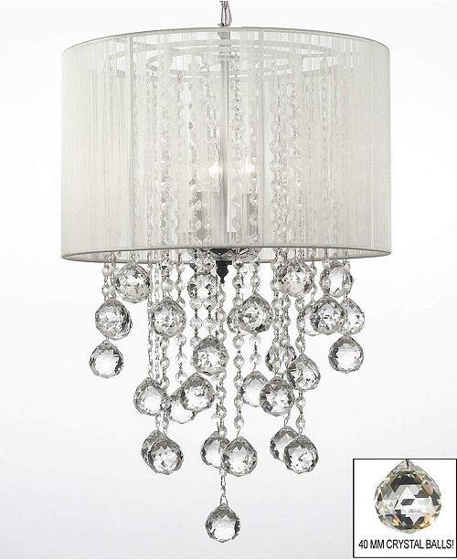 Harrison Lane Empress Crystal 3-Light Chandelier with Shade and Faceted Crystal Balls