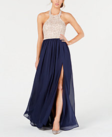 Speechless Juniors' Embroidered Chiffon Gown