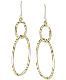 Aregento Vivo Double Ring Drop Earrings in Gold-Plated Sterling Silver
