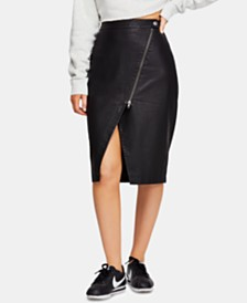 Free People Wrapped Up Faux-Leather Skirt