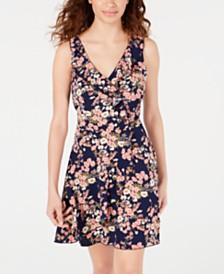 Teeze Me Juniors' Printed Ruffled Faux-Wrap Dress