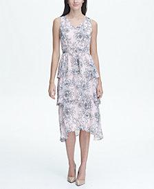 Tommy Hilfiger Beach Rose Chiffon V-Neck Tier Midi Dress