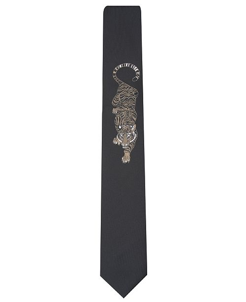 INC International Concepts I.N.C. Men's Tiger Panel Skinny Tie, Created for Macy's