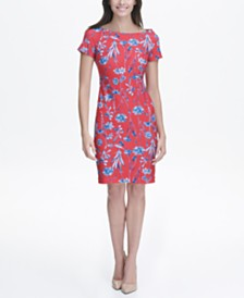 Tommy Hilfiger Floral Sheath Dress with Cap Sleeves