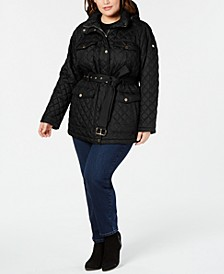 Plus Size Belted Quilted Jacket