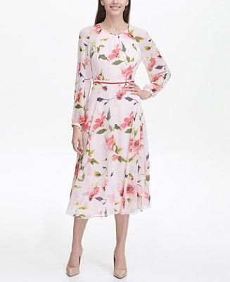 tommy hilfiger corsage print chiffon midi dress  reviews