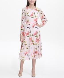 타미 힐피거 코르사주 시폰 원피스 Tommy Hilfiger Corsage Print Chiffon Midi Dress
