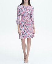 740394e3deed Tommy Hilfiger Printed Jersey Bell Sleeve A-line Dress