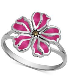 Marcasite & Enamel Flower Ring in Fine Silver-Plate