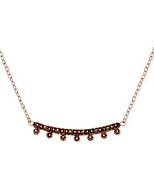 """Marcasite Curved Bar Pendant Necklace in Rose Gold-Plate, 17"""" + 1"""" extender"""