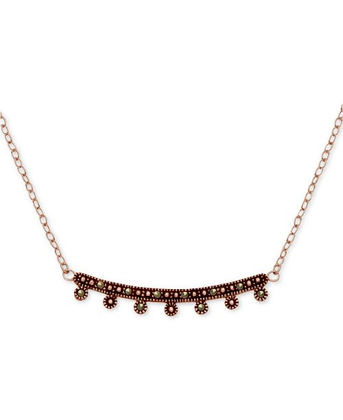 """Macy's Marcasite Curved Bar Pendant Necklace in Rose Gold-Plate, 17"""" + 1"""" extender"""