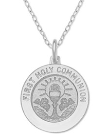 "First Communion Medallion 18"" Pendant Necklace in Sterling Silver"