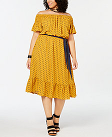 Love Squared Plus Size Printed Tie-Waist Dress