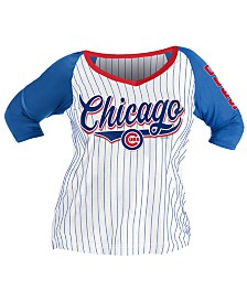 5th & Ocean Women's Plus Chicago Cubs Raglan T-Shirt