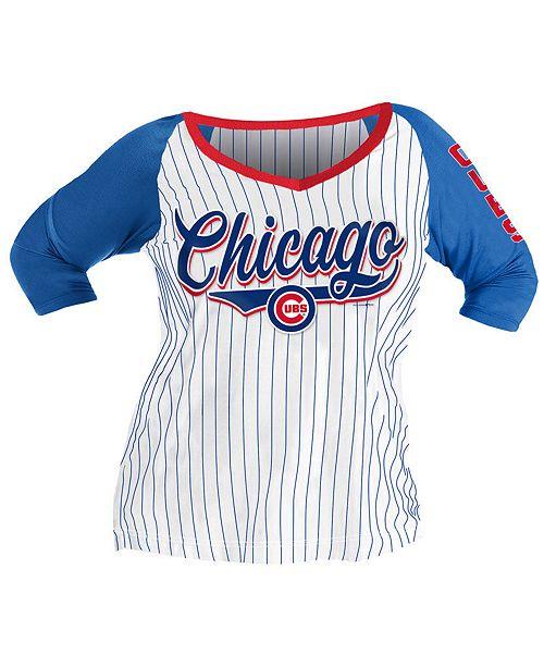 5th & Ocean Women's Plus Chicago Cubs Raglan T-Shirt