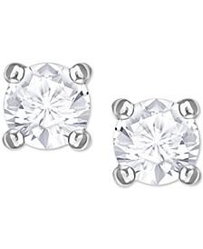 Swarovaki Silver-Tone Crystal Stud Earrings