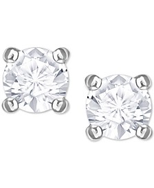 Swarovaki Silver-Tone Crystal Stud Earrings