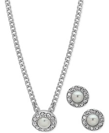 """Givenchy Stone Pendant Necklace & Stud Earrings Set, 16"""" + 3"""" extender"""