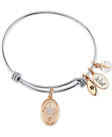 "Unwritten ""Wish"" Star Charm Bangle Bracelet in Stainless Steel & Rose Gold-Tone"