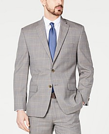 Men's Classic-Fit Airsoft Stretch Brown/Cream Windowpane Suit Jacket