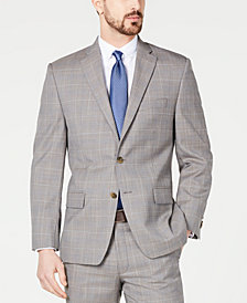 Michael Kors Men's Classic-Fit Airsoft Stretch Brown/Cream Windowpane Suit Jacket