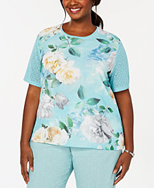 Alfred Dunner Plus Size Versailles Mixed-Media Floral-Print Sweater