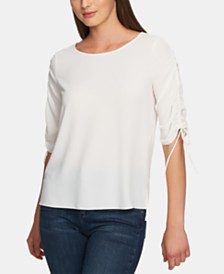 1.STATE Ruched-Sleeve Top