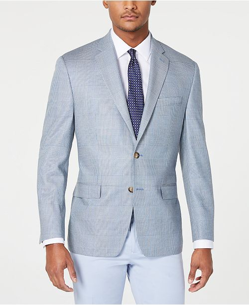 Lauren Ralph Lauren Men's Classic-Fit UltraFlex Stretch Light Blue Houndstooth Plaid Sport Coat